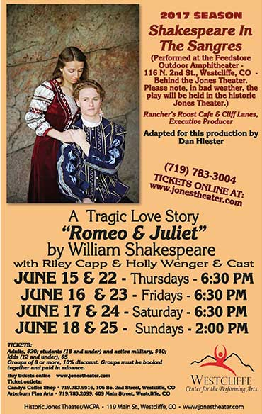 SHakespeare in the Sangres presented by Westcliffe Center for the Performing Arts, Westcliffe, Colorado