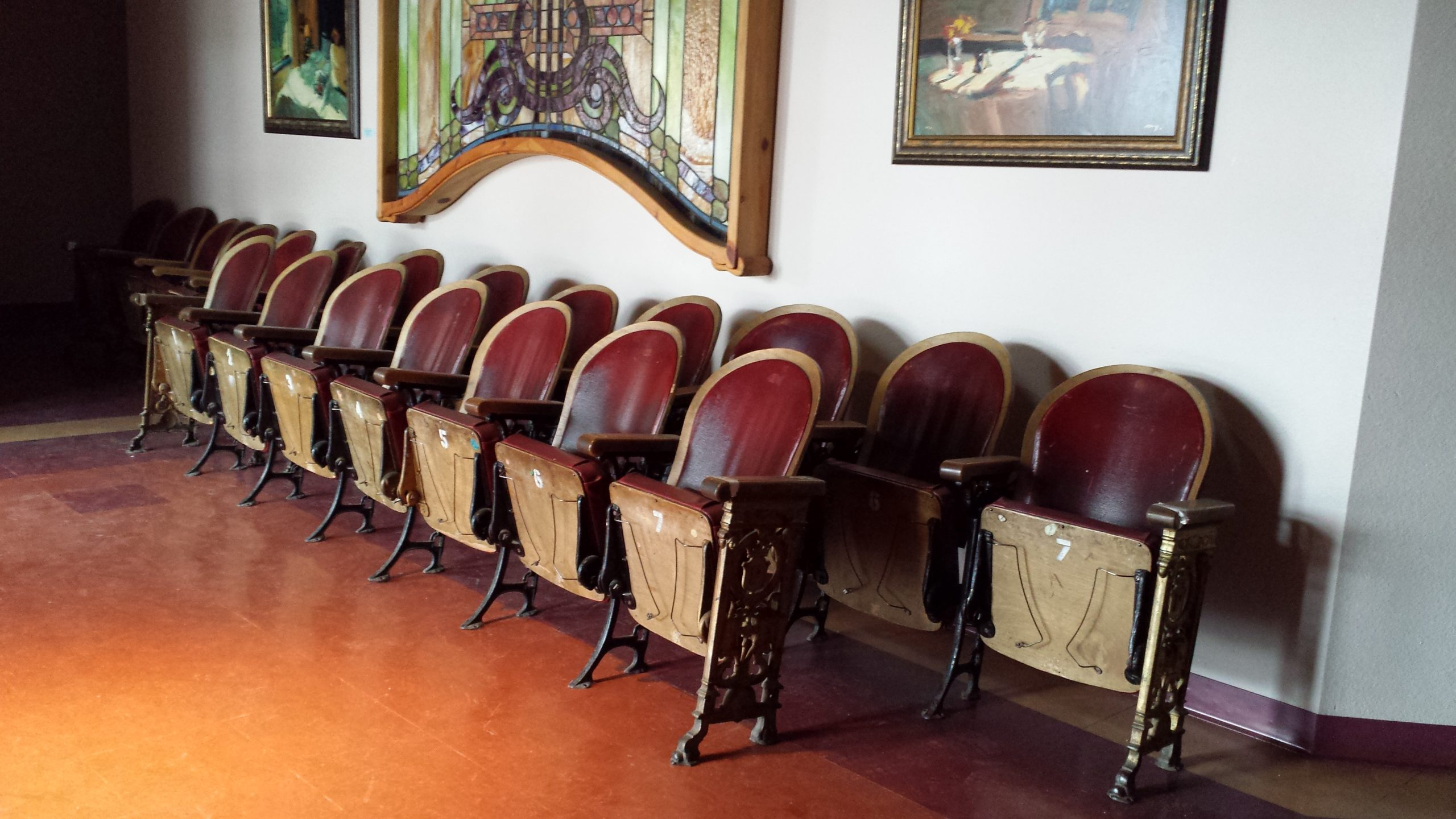 Jones Theater, Westcliffe, Colorado - Chairs lined up in the Studio 2 lobby waiting for the theater floor restoration